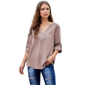 Tops - • Zipper front dusty rose long sleeve blouse •